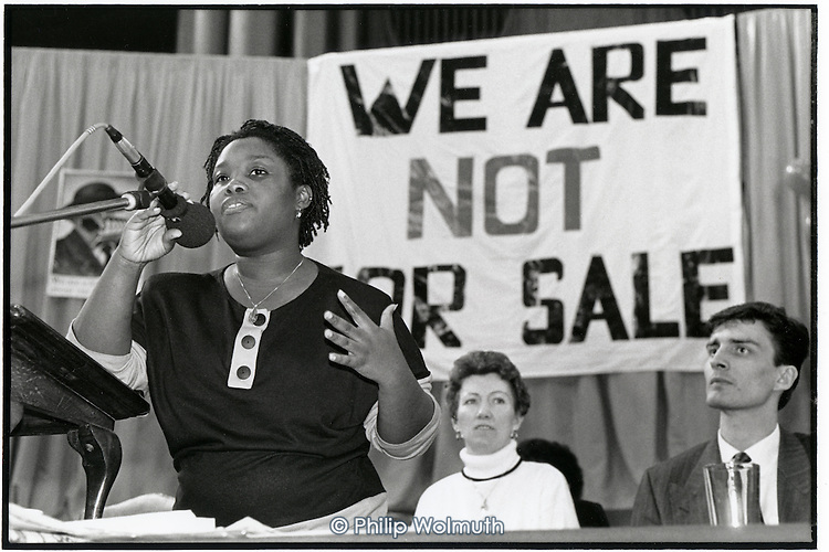 Dora Boatemah, tenant representative from Angell Town Estate in Brixton, addresses a national rally of tenants in Central Hall, Westminster, on the day the Lords debate the Housing Bill.