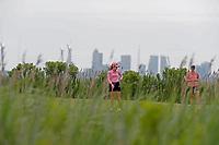 Paula Creamer (USA) putts on the second hole with the Atlantic City skyline in the background during the final round of the ShopRite LPGA Classic presented by Acer, Seaview Bay Club, Galloway, New Jersey, USA. 6/10/18.<br /> Picture: Golffile | Brian Spurlock<br /> <br /> <br /> All photo usage must carry mandatory copyright credit (&copy; Golffile | Brian Spurlock)
