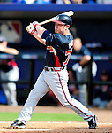 2 March 2010: Atlanta Braves outfielder Matt Young in action against the New York Mets during the Opening Day of Grapefruit League play at Tradition Field in Port St. Lucie, Florida. The Mets defeated the Braves 4-2 in Spring Training action. Mandatory Credit: Ed Wolfstein Photo