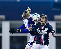Foxborough, Massachusetts - April 30, 2016: In a Major League Soccer (MLS) match, the New England Revolution (blue/white) tied Orlando City SC (white), 2-2, at Gillette Stadium.