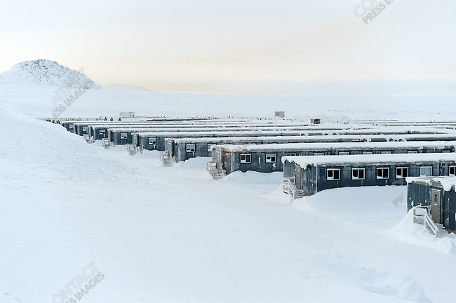 At the Kupol gold mine in Chukotka operated by the Canadian company Kinross, a snowy arctic landscape framed the camp where the workers of the mine live. Russian Far East, February 6, 2011