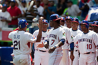 7 March 2009: #21 Miguel Olivio celebrates with his teammates after he scores during the 2009 World Baseball Classic Pool D match at Hiram Bithorn Stadium in San Juan, Puerto Rico. Netherlands pulled off a huge upset in their World Baseball Classic opener with a 3-2 victory over Dominican Republic.