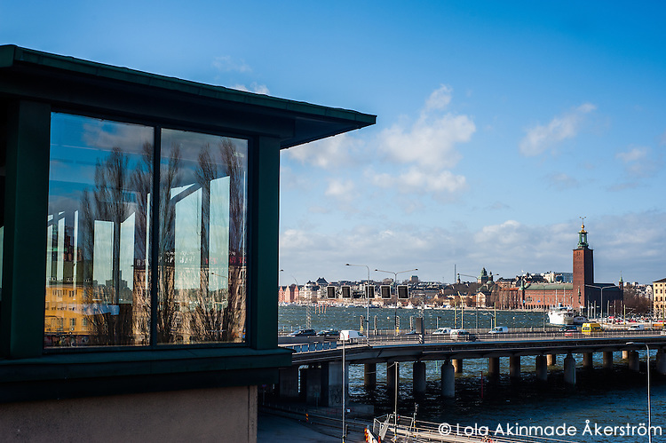 View of City Hall (Stadshuset) on Kungsholmen from Södermalm - Street scenes from Stockholm