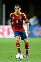 KIEV, UCRANIA, 01 JULHO 2012 - EU2012 FINAL - ESPANHA X ITALIA - Xavi Hernandes jogador da Espanha durante partida contra a Italia na decisão da Euro 2012 entre Espanha e Itália, em Kiev, Ucrânia, neste domingo (01).  (FOTO: PIXATHLON / BRAZIL PHOTO PRESS).