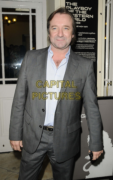 "NEIL PEARSON.The ""The Playboy Of The Western World"" press night, Old Vic theatre, the Cut, London, England..27th September 2011.half length white shirt grey gray suit.CAP/CAN.©Can Nguyen/Capital Pictures."