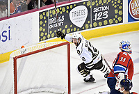HERSHEY, PA - DECEMBER 01: Hershey Bears left wing Nathan Walker (12) celebrates after scoring his second goal fo the game during the Springfield Thunderbirds at Hershey Bears on December 1, 2018 at the Giant Center in Hershey, PA. (Photo by Randy Litzinger/Icon Sportswire)