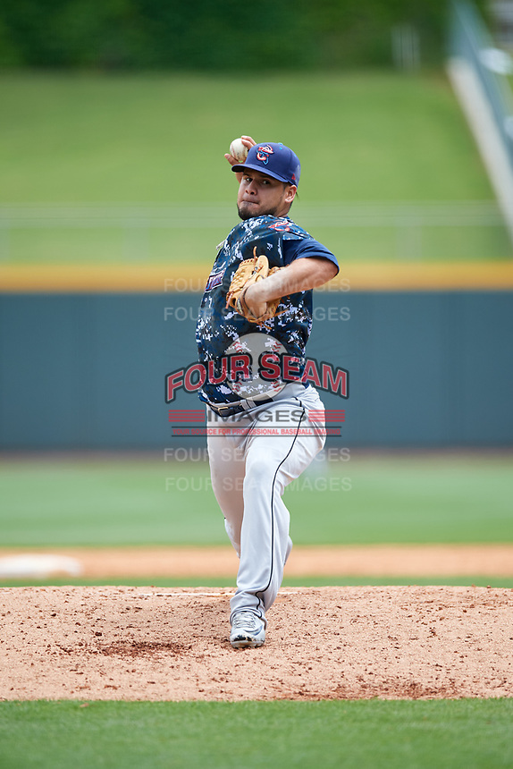 Jacksonville Jumbo Shrimp starting pitcher Omar Bencomo (40) delivers a pitch during a game against the Birmingham Barons on April 24, 2017 at Regions Field in Birmingham, Alabama.  Jacksonville defeated Birmingham 4-1.  (Mike Janes/Four Seam Images)