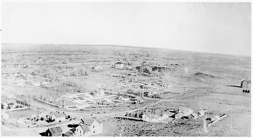 Early elevated view of settlement of Del Norte.<br /> Del Norte, CO  1882