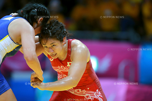(R-L) Kyoko Hamaguchi (JPN), Burmaa Ochirbat (MGL),<br /> SEPTEMBER 28, 2014 - Wrestling :<br /> Women's Freestyle 75kg Bronze medal match at Dowon Gymnasium during the 2014 Incheon Asian Games in Incheon, South Korea. (Photo by Sachiko Hotaka/AFLO)