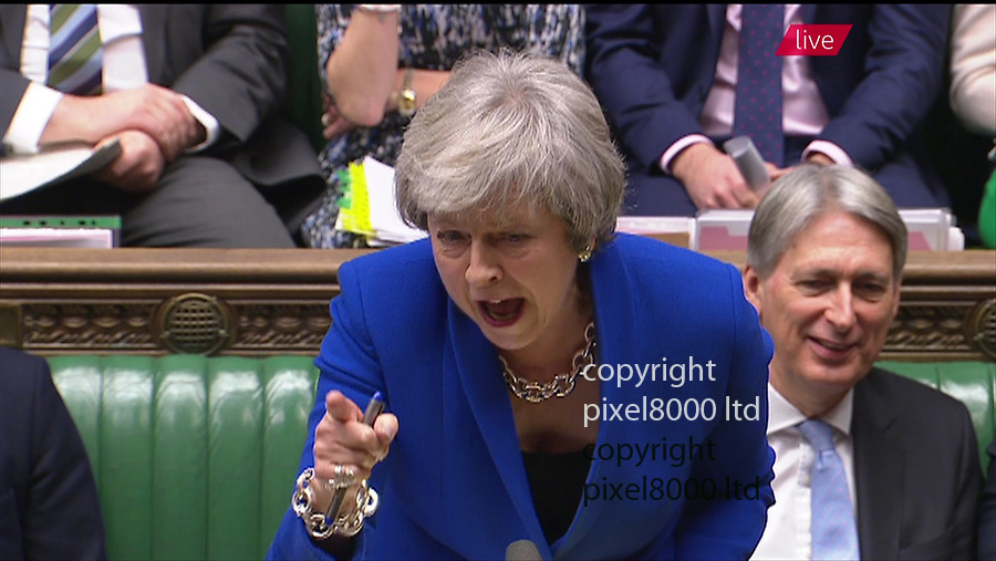 """Pic shows: PMQs 19th December 2018<br /> <br /> Jeremy Corbyn begins his questions wishing all in the house best wishes but ends up appearing to mouth """"stupid woman"""" at Theresa May.<br /> <br /> This was in response to her jibes about panto season and telling him to<br /> <br />  """"Look behind you. They are not impressed and neither is the country.""""<br /> <br /> <br /> <br /> <br /> <br /> supplied by Pixel8000 Ltd<br /> 07917221968"""