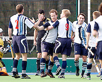 Hampstead players celebrate after Will Naylor scored a goal (no9) during the HA Mens Cup Semi-Final between Hampstead & Westminster and Beeston at the Paddington Recreation Ground, Maida Vale on Sun March 20, 2011