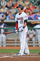 Tennessee Smokies third baseman Kris Bryant #17 reacts to striking out during a game against Huntsville Stars at Smokies Park on April 25, 2014 in Kodak, Tennessee. The Stars defeated the Smokies 15-1. (Tony Farlow/Four Seam Images)
