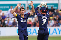 David Masters of Essex celebrates taking the wicket of David Lloyd during Essex Eagles vs Glamorgan, NatWest T20 Blast Cricket at the Essex County Ground on 29th July 2016