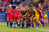 LYON,  - JULY 2: Lindsey Horan #9 celebrates with Ashlyn Harris #18 and Jess McDonald #22 and other teammates during a game between England and USWNT at Stade de Lyon on July 2, 2019 in Lyon, France.