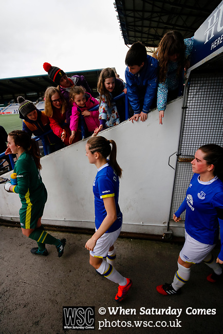 Liverpool Ladies 2 Everton Ladies 1, 19/03/2017. Select Security Stadium, SSE FA Cup Fifth Round. Everton's players emerge for the second half of the game between Liverpool Ladies v Everton Ladies at The Select Security Stadium, Widnes, in the Women's SSE FA Cup Fifth Round. Photo by Paul Thompson.