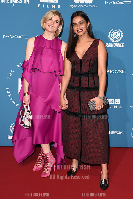 LONDON, UK. December 02, 2018: Jodie Whittaker &amp; Mandip Gill at the British Independent Film Awards 2018 at Old Billingsgate, London.<br /> Picture: Steve Vas/Featureflash