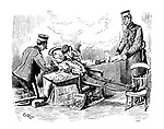 Punch Among the Planets. Visit to Mars. (a Victorian cartoon shows an army soldier playing chess, smoking a cigar, reading Punch magazine and being served by higher ranking officers while on the planet Mars)