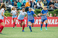 Boston, MA - Friday July 07, 2017: Samantha Johnson and Adriana Leon during a regular season National Women's Soccer League (NWSL) match between the Boston Breakers and the Chicago Red Stars at Jordan Field.