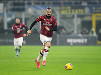 9th February 2020, Milan, Italy; Serie A football, AC Milan versus Inter-Milan; Zlatan Ibrahimovic breaks forward on the ball to score in the 45th minute