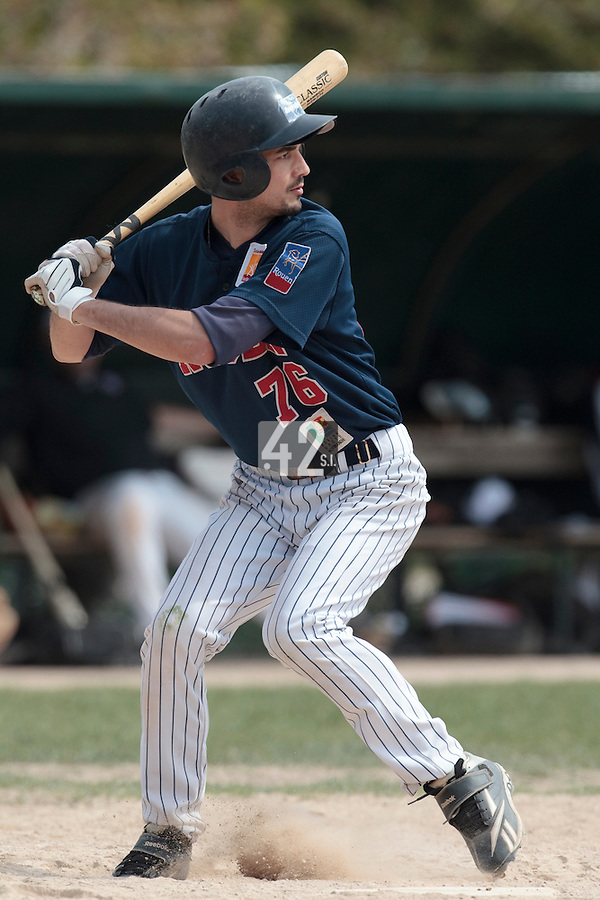 25 April 2010: Mathieu Crescent of Rouen is seen at bat during game 1/week 3 of the French Elite season won 12-4 by Rouen over the PUC, at the Pershing Stadium in Vincennes, near Paris, France.
