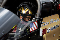 Sept. 1, 2013; Clermont, IN, USA: NHRA top fuel dragster driver Khalid Albalooshi during qualifying for the US Nationals at Lucas Oil Raceway. Mandatory Credit: Mark J. Rebilas-