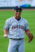 Colorado Springs Sky Sox third baseman Ivan De Jesus, Jr. (11) warms up in the outfield prior to game one of a Pacific Coast League doubleheader against the Iowa Cubs on August 17, 2017 at Principal Park in Des Moines, Iowa. Iowa defeated Colorado Springs 1-0. (Brad Krause/Four Seam Images)