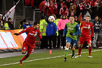 Toronto, ON, Canada - Saturday Dec. 10, 2016: Steven Beitashour during the MLS Cup finals at BMO Field. The Seattle Sounders FC defeated Toronto FC on penalty kicks after playing a scoreless game.