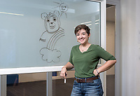 "Occidental College student Paisley Dutcher '19 worked as a PA on ""Brigsby Bear"" over the summer. Photographed in the Varelas Innovation Lab, Sept. 6, 2017.<br /> (Photo by Marc Campos, Occidental College Photographer)"