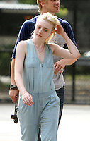 NEW YORK CITY- July 03, 2012: Dakota Fanning  shooting on location for the new film, Very Good Girls. © RW/MediaPunch Inc. *NORTEPHOTO*<br />