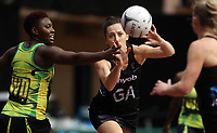 24.02.2018 Silver Ferns Bailey Mes in action during the Silver Ferns v Jamaica Taini Jamison Trophy netball match at the North Shore Events Centre in Auckland. Mandatory Photo Credit ©Michael Bradley.