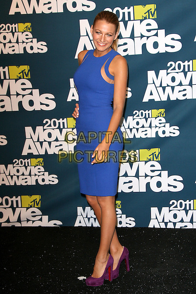 Blake Lively.2011 MTV Movie Awards - Press Room held at Gibson Amphitheatre, Universal City, California, 5th USA, June 2011..pressroom press room full length sleeveless cut out blue dress purple suede christian louboutin shoes .CAP/ADM.©AdMedia/Capital Pictures.