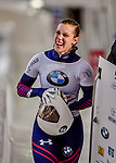 8 January 2016: Anne O'Shea, competing for the United States of America, is all smiles to after completing her second run of the BMW IBSF World Cup Skeleton race with a combined 2-run time of 1:50.34, earning her the gold medal at the Olympic Sports Track in Lake Placid, New York, USA. Mandatory Credit: Ed Wolfstein Photo *** RAW (NEF) Image File Available ***