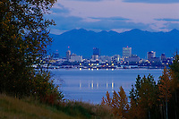 "View of the downtown Anchorage skyline as seen from Point Mackenzie. This is the approximate location of one the so called ""Bridges to Nowhere"" which dominated political news in the U.S.A. Summer in Southcentral Alaska."