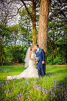 Bride and Groom in Bluebell woods