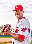 28 February 2016: Washington Nationals relief pitcher Abel De Los Santos poses for his Spring Training Photo-Day portrait at Space Coast Stadium in Viera, Florida. Mandatory Credit: Ed Wolfstein Photo *** RAW (NEF) Image File Available ***