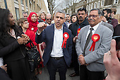 Sadiq Khan, Labour candidate for Mayor of London with GLA member for Brent and Harrow supporters, Navin Shah, Kilburn.