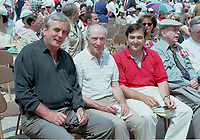 pr_97-06-1,2,3 4<br /> Montreal, 1997-07-01.Former Canadian Prime Minister Pierre Eliott TRudeau (middle) with Serge Savard (left) and Canada's Secretary to Economic Development ;  Martin Cauchon at the Canada's day celebration in Montreal (Quebec, Canada)<br /> Photo :  (c) Pierre Roussel, 1997<br /> KEYWORDS : Pierre TRudeau, Martin Cauchon, Serge Savard, Montreal, Quebec, Canada