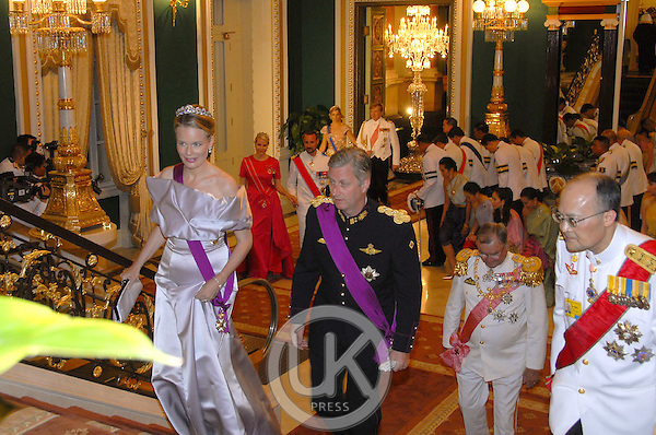 Crown Prince Philippe & Crown Princess Mathilde of Belgium attend a Banquet for foreign monarchs & royal guests at the Chakri Maha Prasat Throne Hall, hosted by Thai King Bhumibol Adulyadej, during the celebrations to mark the 60th anniversary of his accession to the throne...Pool Picture supplied by UK Press Ltd