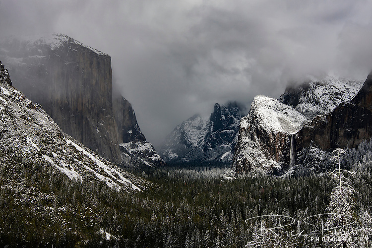 A spring storm lingers over Yosemite National Park.