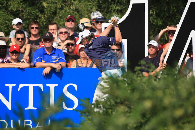 Rory McIlroy teeing off on the 14th  during the third round of the Dubai World Championship on the Earth Course at the Jumeirah Golf Estate, Dubai..Picture Fran Caffrey/www.golffile.ie.