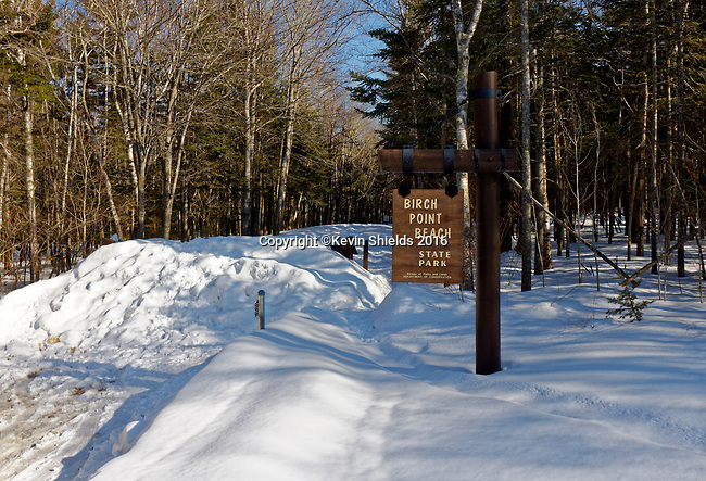Winter view of the entrance to Birch Point Beach State Park, Owls Head, Knox County, Maine, USA