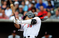 Jun. 23, 2009; Albuquerque, NM, USA; Albuquerque Isotopes outfielder Manny Ramirez bats in the first inning against the Nashville Sounds at Isotopes Stadium. Ramirez is playing in the minor leagues while suspended for violating major league baseballs drug policy. Mandatory Credit: Mark J. Rebilas-