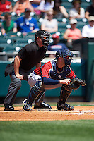 Home plate umpire Tom Honec and Columbus Clippers catcher Brett Hayes (11) during a game against the Buffalo Bisons on July 19, 2015 at Coca-Cola Field in Buffalo, New York.  Buffalo defeated Columbus 4-3 in twelve innings.  (Mike Janes/Four Seam Images)
