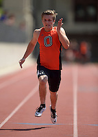 Apr 11, 2015; Los Angeles, CA, USA; Trevor Litwin of Occidental College places sixth in a 100m heat in 11.89 in a SCIAC multi dual meet at Occidental College. Photo by Kirby Lee