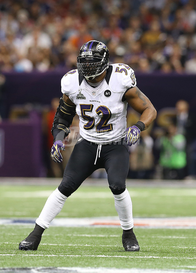 Feb 3, 2013; New Orleans, LA, USA; Baltimore Ravens inside linebacker Ray Lewis against the San Francisco 49ers in Super Bowl XLVII at the Mercedes-Benz Superdome. Mandatory Credit: Mark J. Rebilas-