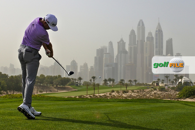 David Lipsky (USA) on the 8th tee during Round 1 of the Omega Dubai Desert Classic, Emirates Golf Club, Dubai,  United Arab Emirates. 24/01/2019<br /> Picture: Golffile | Thos Caffrey<br /> <br /> <br /> All photo usage must carry mandatory copyright credit (© Golffile | Thos Caffrey)