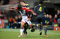 EMMEN - Voetbal, FC Emmen - Jong PSV, Jens Vesting, Jupiler League, seizoen 2017-2018, 13-10-2017,  FC Emmen speler Omran Haydary in duel met Jong PSV speler Jurich Carolina