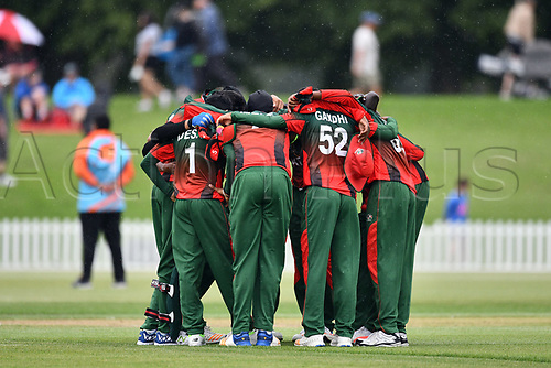 17th January 2018, Hagley Oval, Christchurch, New Zealand; Under 19 Cricket World Cup, New Zealand versus Kenya;  Kenyan players huddle up
