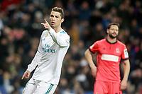 Real Madrid's Cristiano Ronaldo celebrates goal in presence of Real Sociedad's Alberto de la Bella dejected during La Liga match. February 10,2017. (ALTERPHOTOS/Acero)