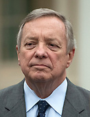 United States Senate Minority Whip Dick Durbin (Republican of Illinois) meets reporters at the White House after meeting with US President Donald J. Trump on border security and reopening the federal government at the White House in Washington, DC on Wednesday, January 2, 2018.<br /> Credit: Ron Sachs / CNP